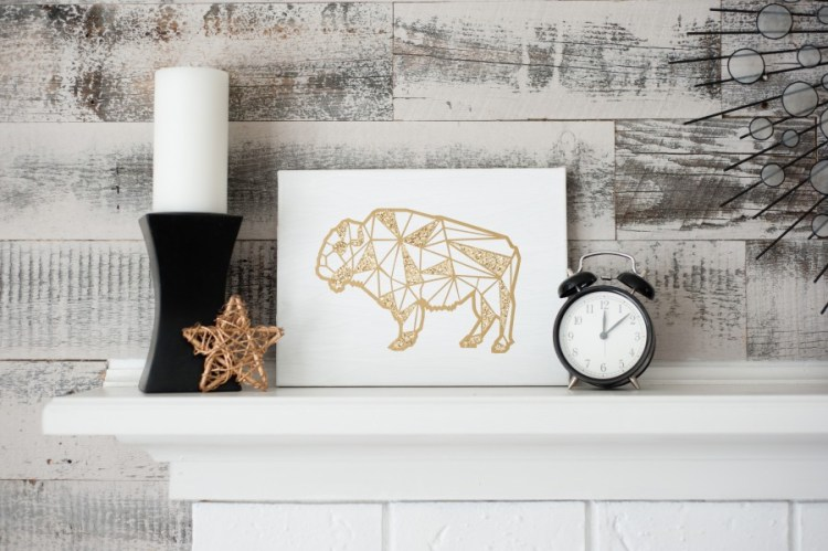 gold glitter geometric buffalo canvas art