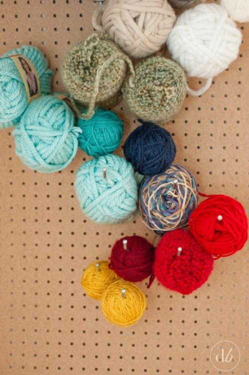 diy pegboard yarn organizer
