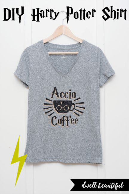 diy harry potter accio coffee t-shirt