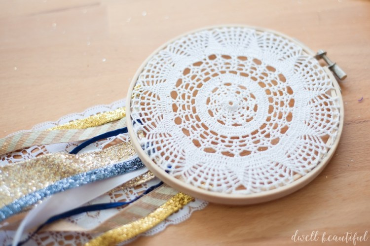 feminine and rustic ribbon doily dream catcher
