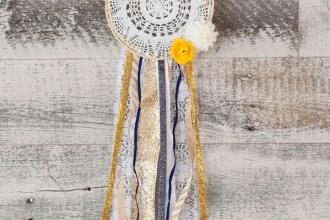 feminine and rustic ribbon doily dream catcher