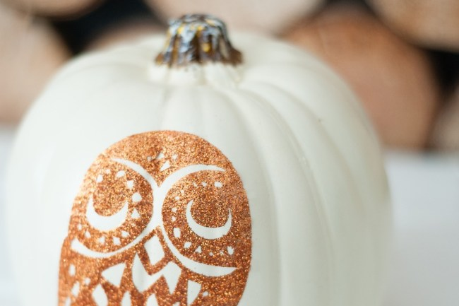 DIY Glitter Owl No-Carve Pumpkin