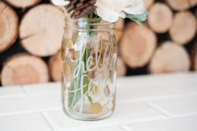 Hello Fall Mason Jar Vase