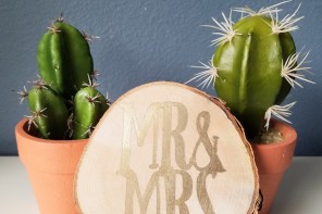 Stenciled Mr. and Mrs. Wood Slice Wedding Gift