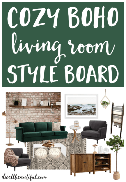Cozy Boho Living Room Style Board