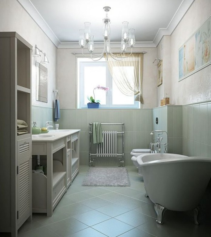 Marvelous-small-bathroom-designs-with-white-bathtub-and-chandlier