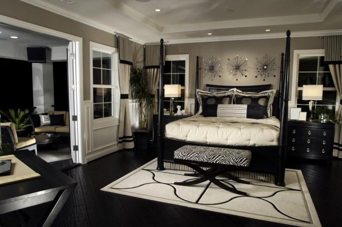 Master bedroom in dark decor