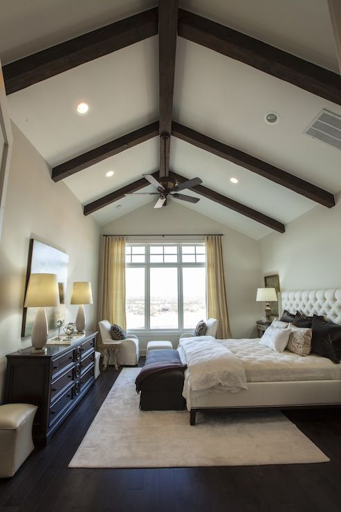 Master bedroom design with vaulted ceiling