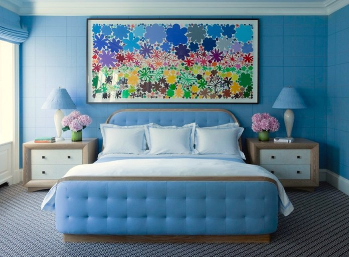 blue tufted headboard