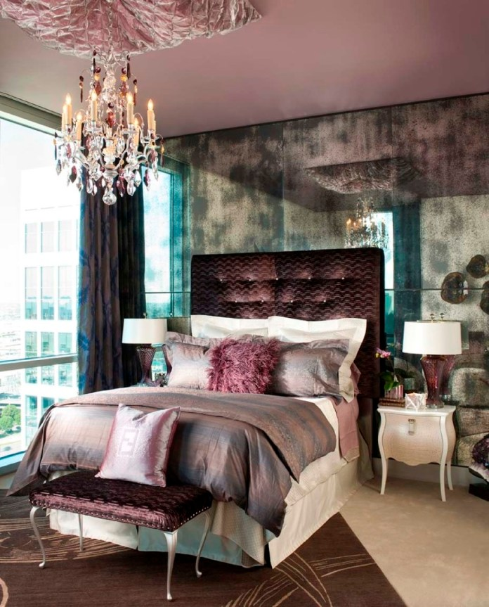 cool-bedroom-chandelier-also-mirrored-wall-panel-feat-amazing-silk-tufted-headboard