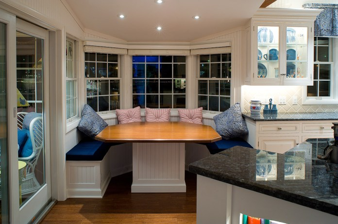 Breakfast Nook Designs With Recessed Lighting And With Wooden Flooring Ideas
