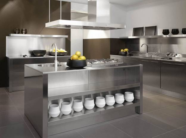Contemporary kitchen design with stainless steel island