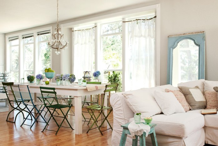 Garden Inspired Dining Room with Couch