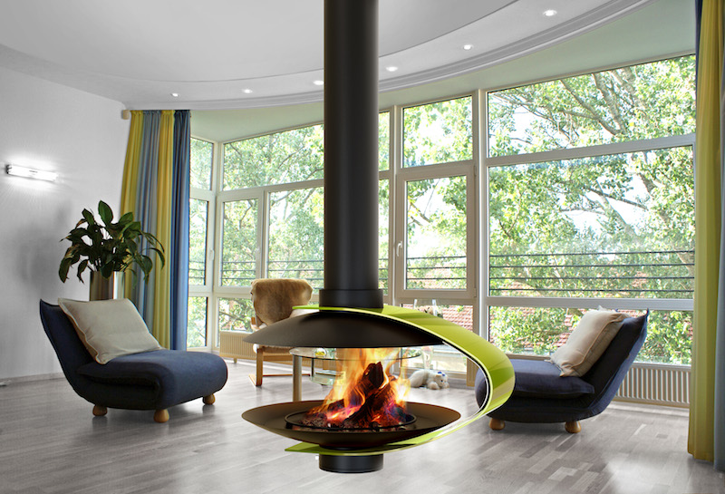 Modern Suspended Gas Fireplace