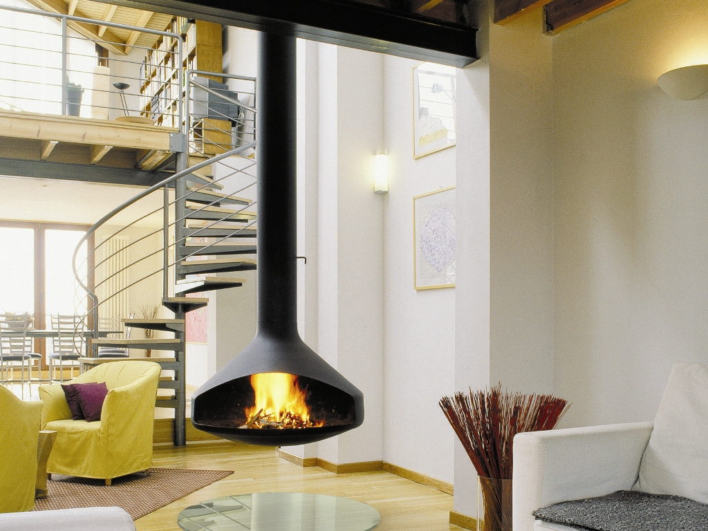 Open Suspended Steel Fireplace