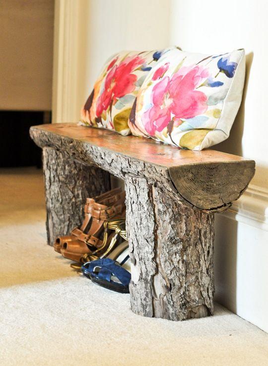 Salvaged tree bench