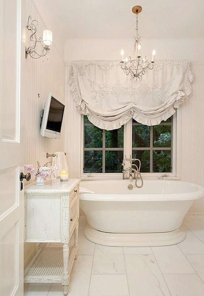 Shabby chic bathroom with beautiful chandelier