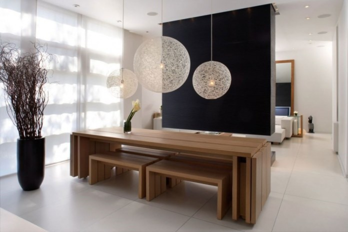 Space Saving Wooden Dining Room Design