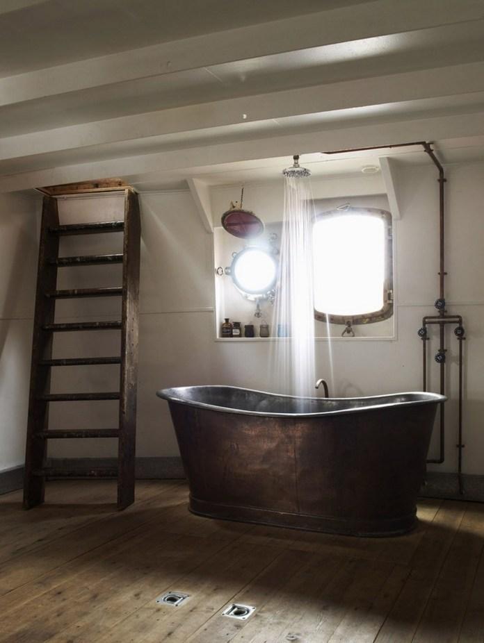 Vintage Rustic Bathroom with Copper Bathtub