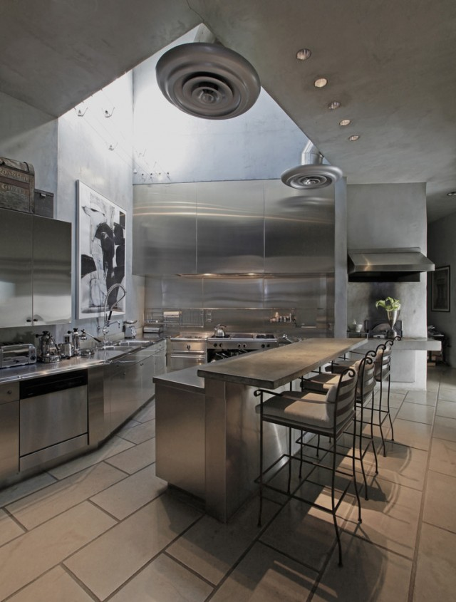 monochromatic stainless steel Kitchen
