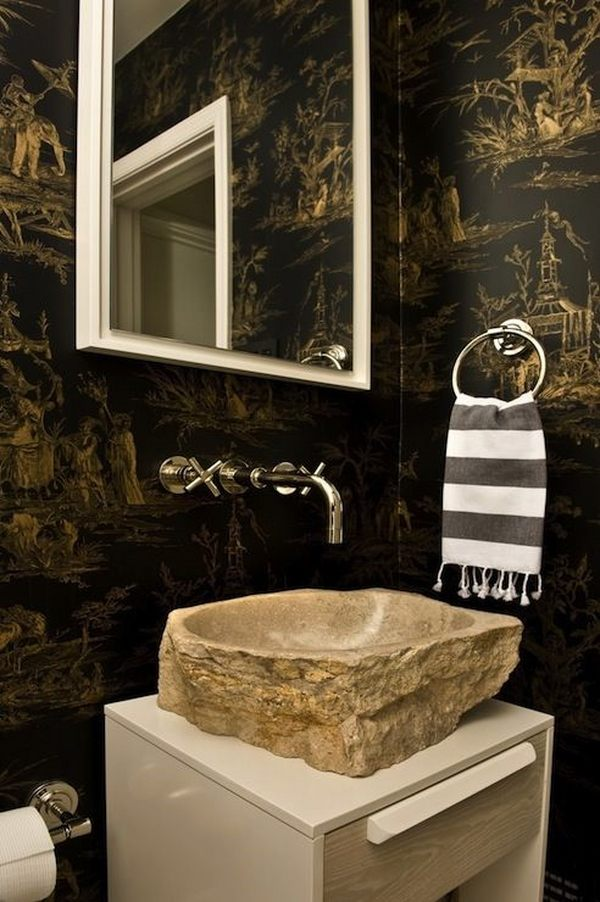 unique bathroom designs polished nickel wall mount faucet stone vessel sink