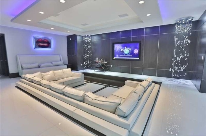 white interior modern home theater