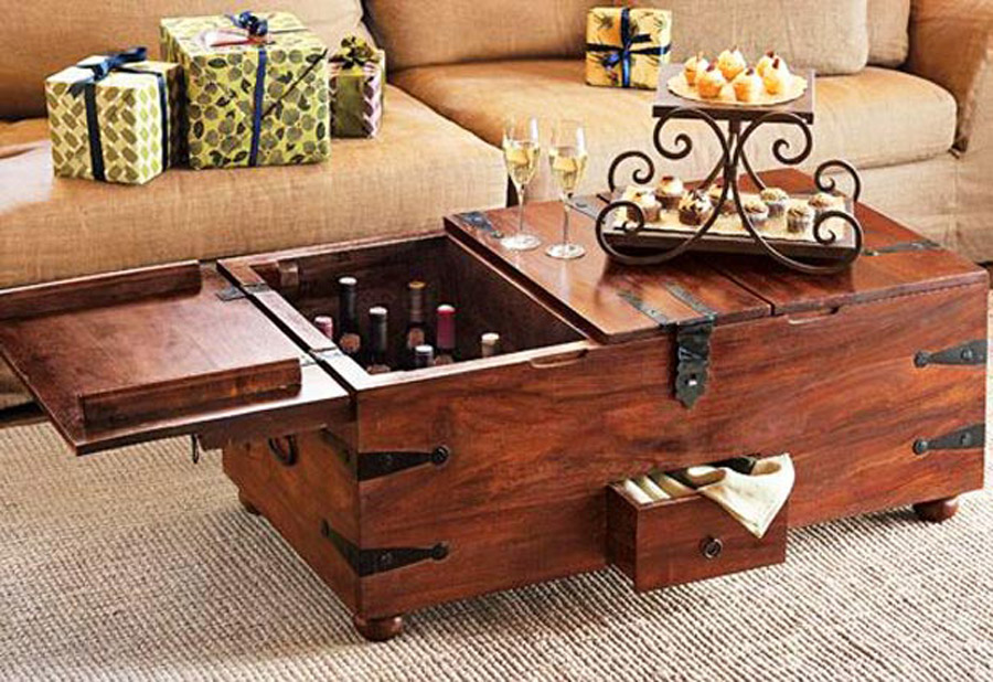 Cherry Wood Coffee Table with Vine Storage