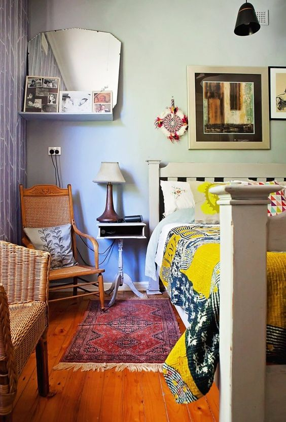 Creative and cozy eclectic bedroom by stylist Helen Edwards