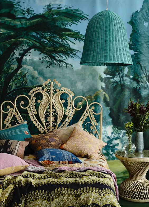 Eclectic-bedroom-with fairytale decor.