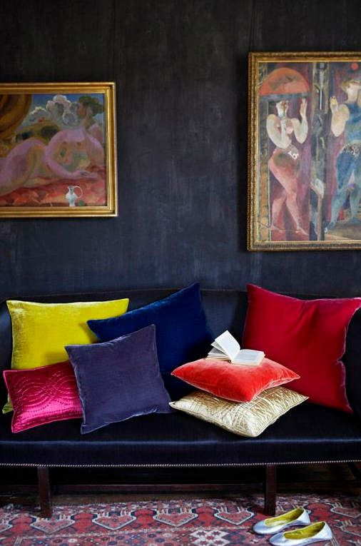 Jewel tonesalong with rich velvet fabrics and colorful textiles