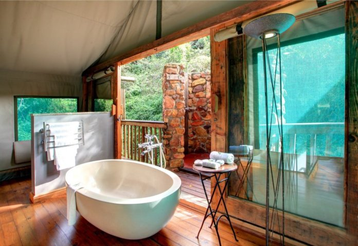 Luxury en-suite bathroom with outdoor shower
