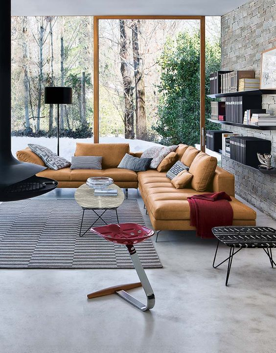 Modern leather sofa in tobacco color