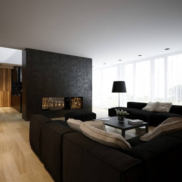Modern living rooms with fireplaces