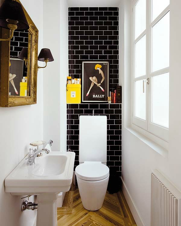black and white design with subway tiles