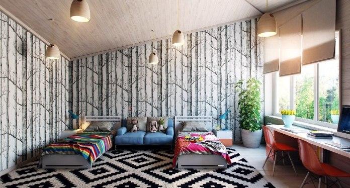 black-white-kids-bedroom-interior-design-decorating-ideas-with-tree-wallpaper