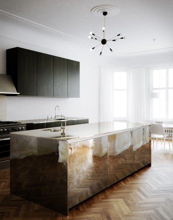 brass kitchen countertop
