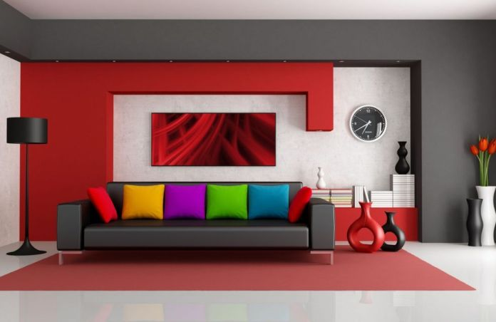 Multicolored couch with stylish and colorful cushion bring this living room energetic and cool feeling.