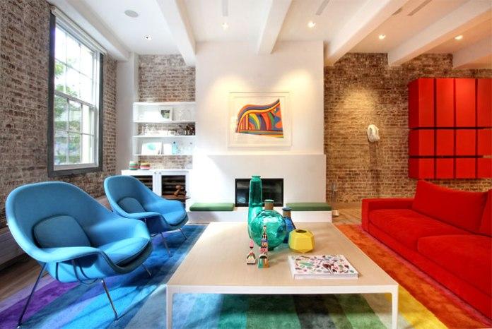 large-rainbow-colored-rug-living-room-decor