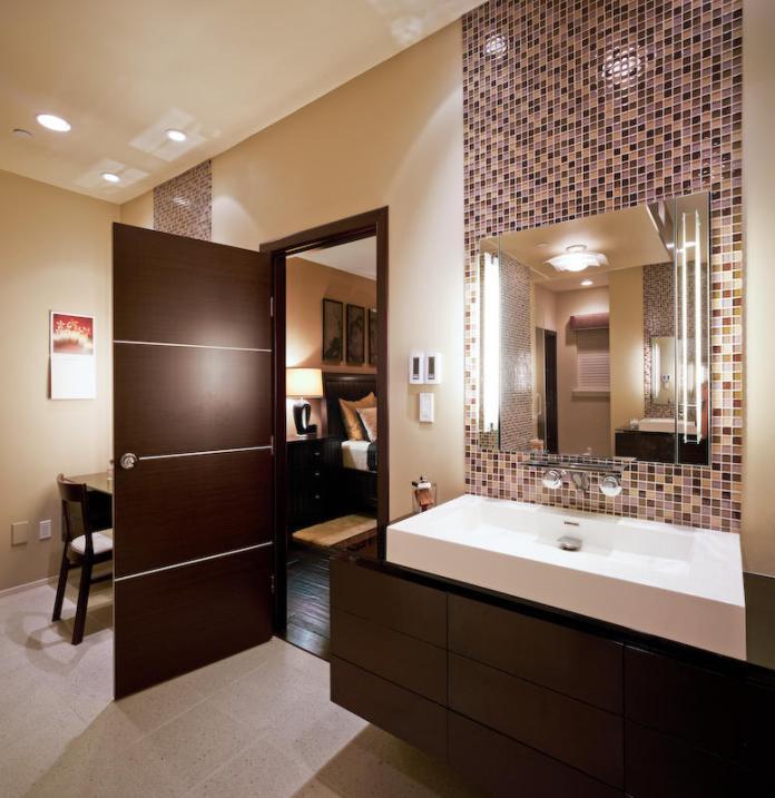 modern small bathroom with vanity