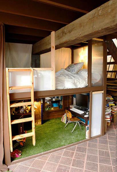 Loft bedroom with open wood ceiling beams