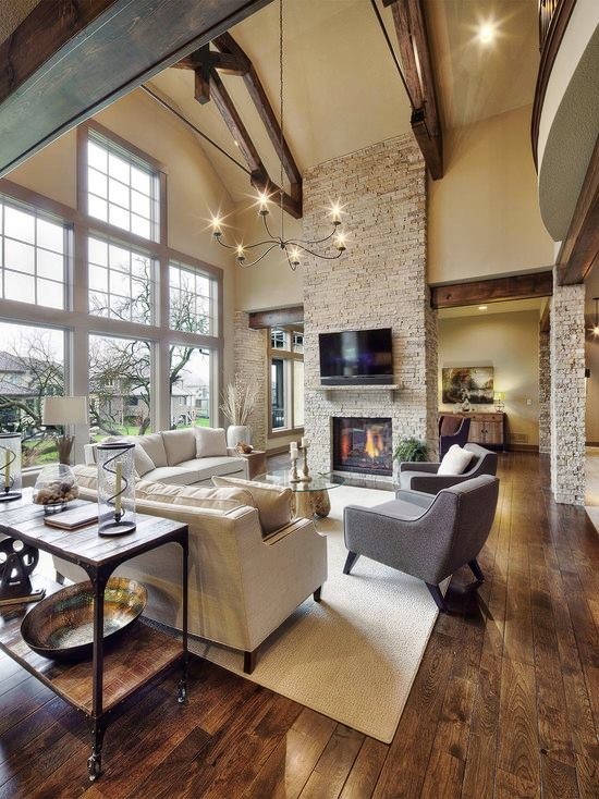 Rustic Living Room with Crate and barrel driftwood coffee table