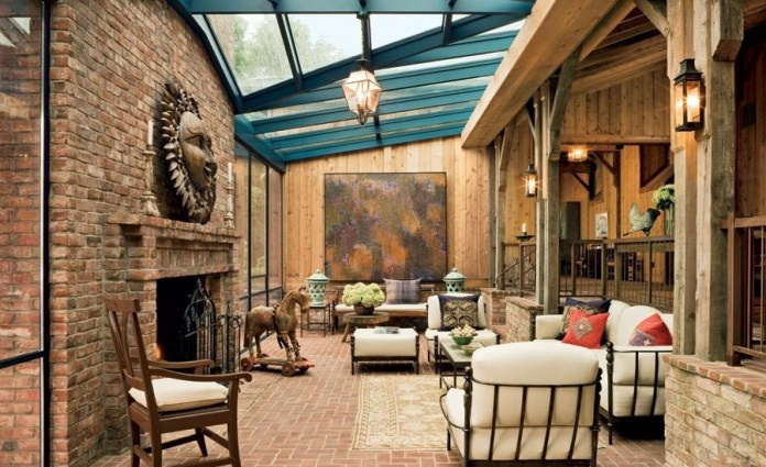Rustic Living Room with Exposed wood beams, Wood panel wall