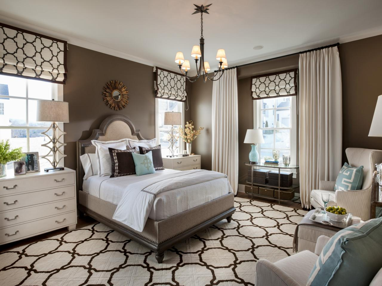 Transitional Style Bedroom in Brown with Blue