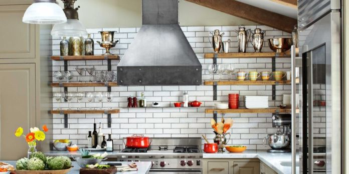 raw steel kitchen hood