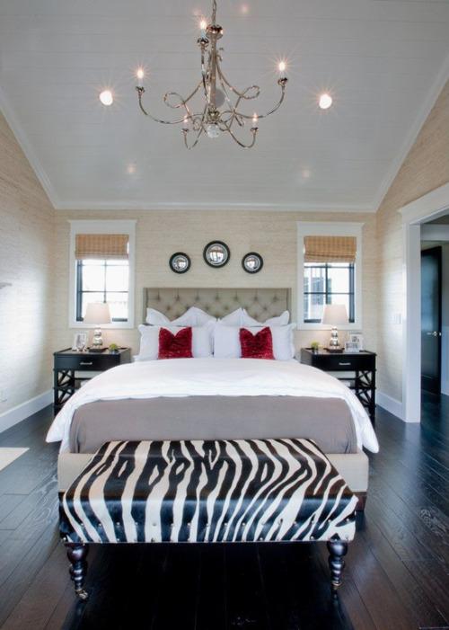 zebra-print bench bedroom