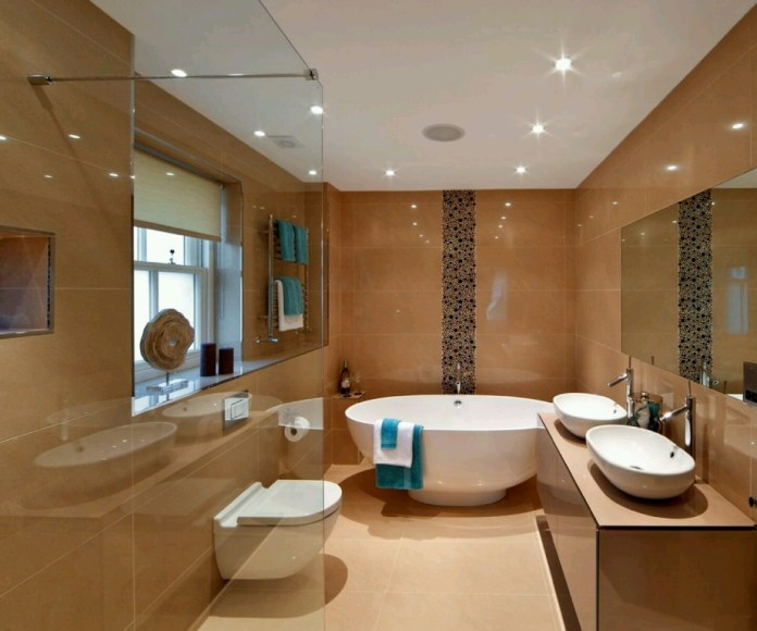 Australian Luxury bathroom with brown tiles and hardwood floor
