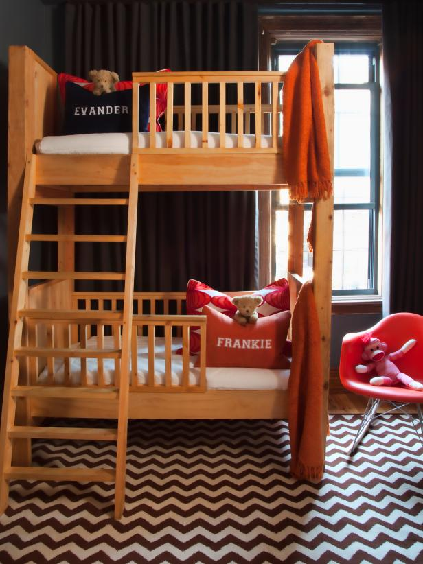 Contemporary Kids Bedroom With Wood Bunk Beds