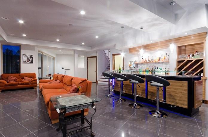 Design a Modern basement bar
