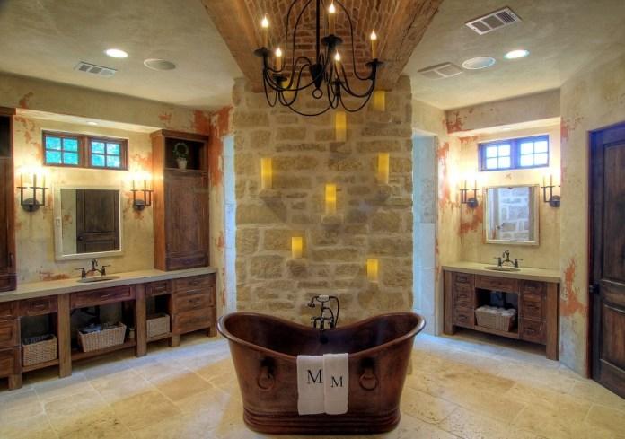 Mediterranean Bathroom Design with cooper bathtub