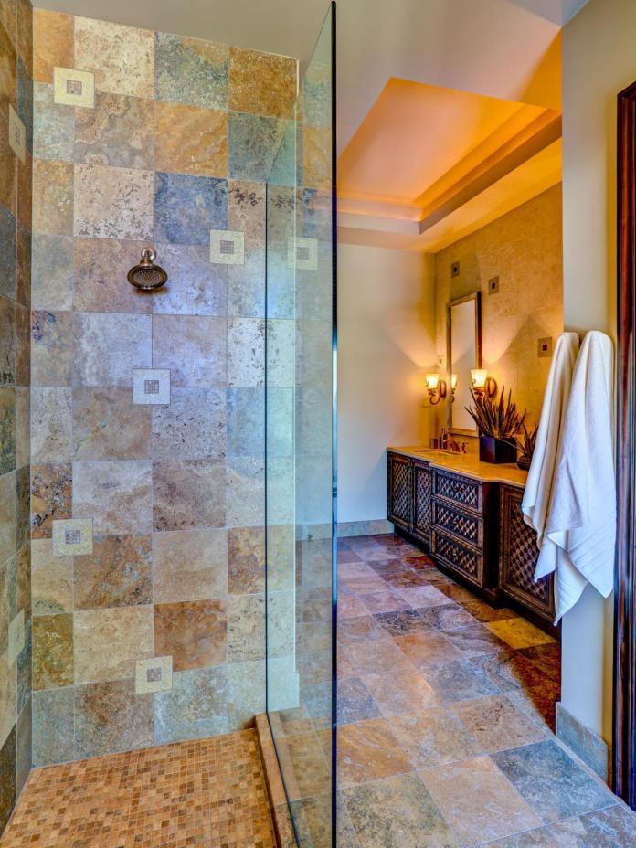 Neutral Mediterranean Bathroom